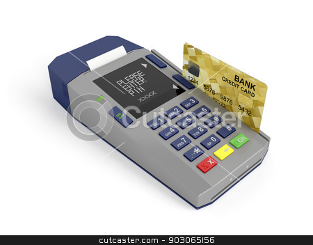 Paying with credit card stock photo, Credit card and card reader, 3d rendered image by Mile Atanasov