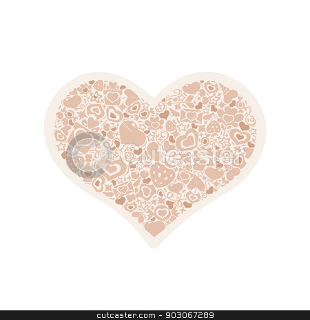 Valentites heart of objects beige stock vector clipart, Symbol of Valentine's Day. Beige heart of valentines icons. by Viachaslau Vaitsenok