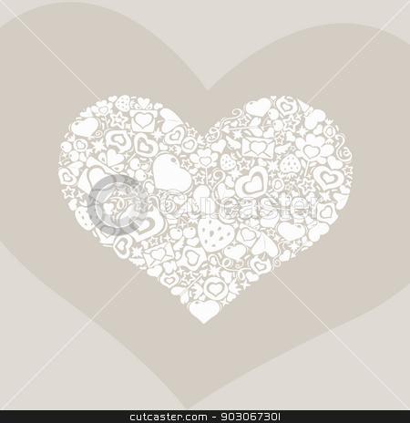 Valentites heart of objects white on biege stock vector clipart, Symbol of Valentine's Day. White on biege heart of valentines icons. by Viachaslau Vaitsenok