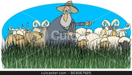 Shepherd with sheep and goats stock photo, This illustration depicts a shepherd standing in tall grass with sheep and goats. by Dennis Cox