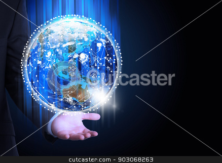 Man in suit holding a earth in hand stock photo, Man in suit holding a earth in hand. Communication around the earth. The concept of communication by cherezoff