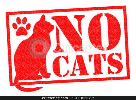 NO CATS stock photo, NO CATS red Rubber Stamp/Sign over a white background. by Chris Dorney