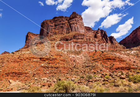 Rock Canyon Butte Outside Arches National Park Moab Utah  stock photo, Red Rock Canyon Butte Outside Arches National Park Moab Utah USA Southwest.  by William Perry