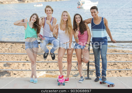 mixed race confident teens on student vacation stock photo, mixed race confident teens on student vacation by mandygodbehear