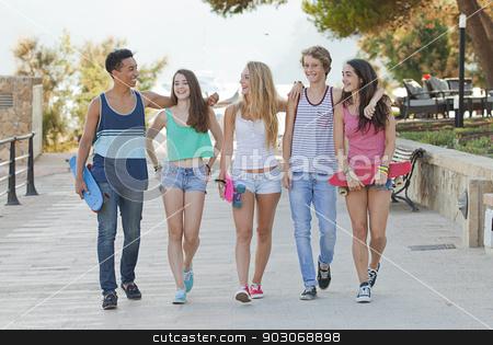 teens in Majorca or Mallorca stock photo, happy group of teens in Majorca or Mallorca by mandygodbehear