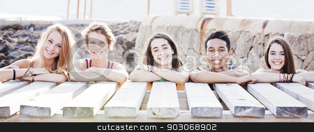 multi racial students on vacation stock photo, multi racial students on vacation by mandygodbehear