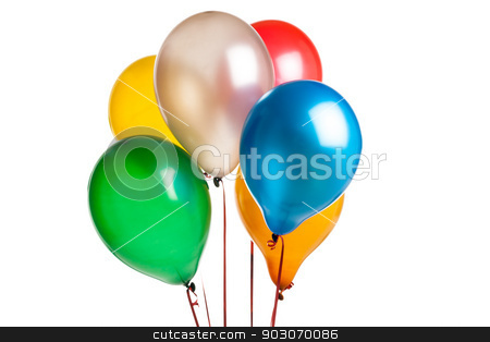 Colored balloons  stock photo, six Colored party balloons isolated on white by Felix Furo