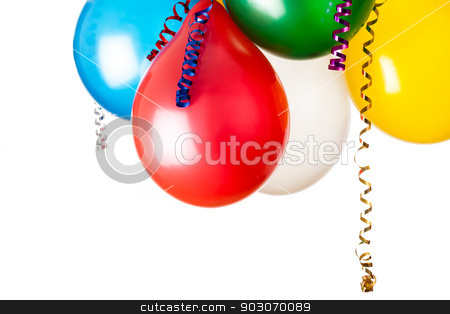 Colored balloons  stock photo, colored balloons isolated on white with hanging holiday streamers by Felix Furo