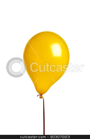 Yellow balloon stock photo, Yellow balloon isolated on white with red string by Felix Furo