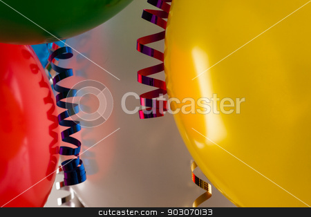 Balloon close up stock photo, close up of colored party balloons and streamers by Felix Furo