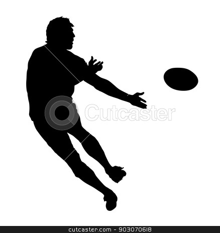 Side Profile of Rugby Speedster Passing the Ball stock vector clipart, Side Profile of Rugby Speedster Passing the Ball Silhouette by Snap2Art