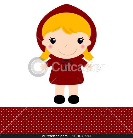 Cute retro Red riding hood isolated on white stock vector clipart, Red riding hood in kawaii style. Vector Illustration by BEEANDGLOW