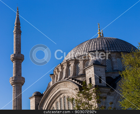 Dome of the Blue Mosque stock photo, Dome and minaret of the Blue Mosque in Istanbul by Scott Griessel