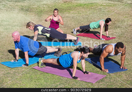Mixed Group Exercising Outdoors stock photo, Mixed group of people doing push ups outdoors by Scott Griessel