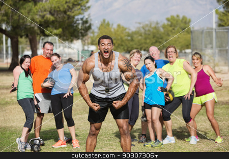 Loud Boot Camp Fitness Trainer stock photo, Loud boot camp fitness trainer and scared group by Scott Griessel