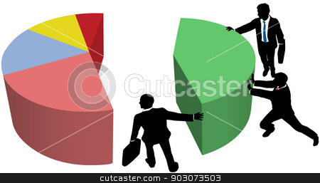 Business team grow market share sales stock vector clipart, Team of business people work to build pie chart of market share sales or profit growth by Michael Brown