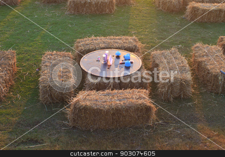 dining  table set outdoor stock photo, dining  table set outdoor made of rice straw by forest71