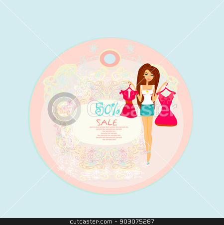Price Tags With Fashion Girl stock vector clipart, Price Tags With Fashion Girl by Jacky Brown