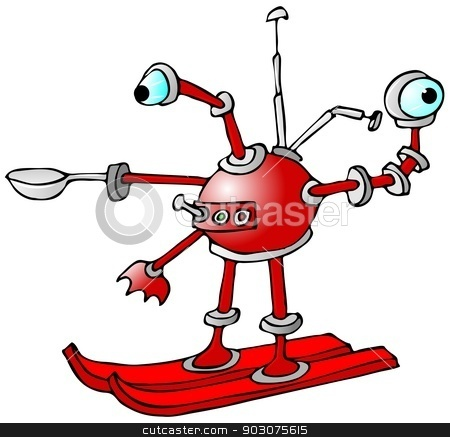 Robot on skis stock photo, This illustration depicts a red circular robot mounted on skis. by Dennis Cox