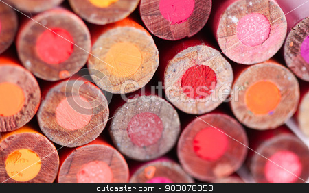 Color Pencils stock photo, The backs of color pencils build a background. by Henrik Lehnerer