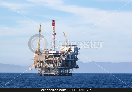 Oil Rig stock photo, Oil Rig in the channel island near Ventura California. by Henrik Lehnerer