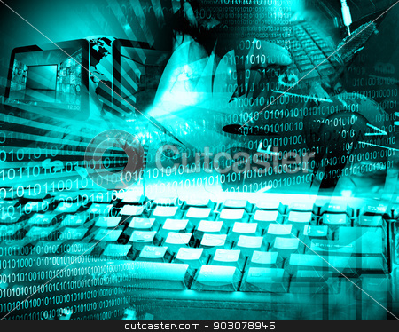 girl stock photo, Collage of binary code, images girl with headphones and a computer keyboard. by sssrrussia