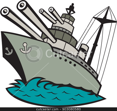 World War Two Battleship Cartoon stock vector clipart, Illustration of a world war two naval battleship boat with big guns at sea done in cartoon style on isolated background. by patrimonio