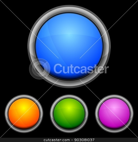 Vector glossy buttons stock vector clipart, Set of glossy buttons in various colors by saicle