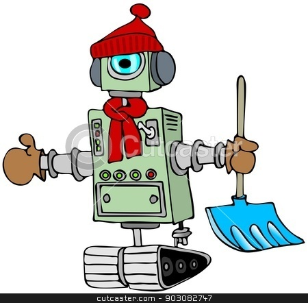 Winter robot stock photo, This illustration depicts a robot on tracks wearing a stocking cap and scarf carrying a snow shovel. by Dennis Cox
