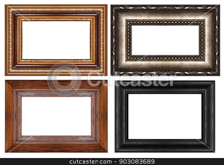 Picture Frame stock photo, Old antique gold picture frame wall, wallpaper, decorative objects isolated white background by janniwet