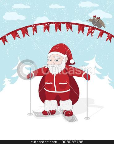 Santa stock photo, Vector Christmas illustration with Santa, snow and birds by Olga Altunina