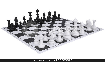 Chess on the chessboard stock photo, Chess on the chessboard. Isolated render on a white background by cherezoff