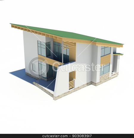 Wooden house with a green roof stock photo, Wooden house with a green roof. Isolated render on a white background by cherezoff