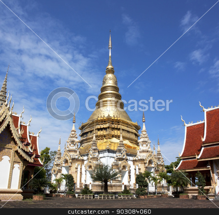 Buddhist places of worship stock photo, Buddhist religious worship place Wednesday Lamphun Thailand by janniwet