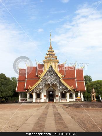 Buddhist places of worship stock photo, Buddhist religious worship place Wednesday Lamphun Thailand by janniwet