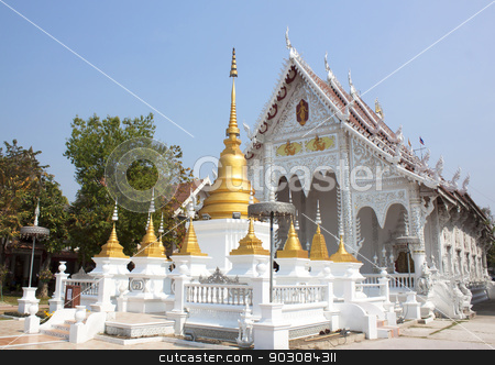 monastery stock photo, Locus Wednesday worship at temples in Lampang. by janniwet