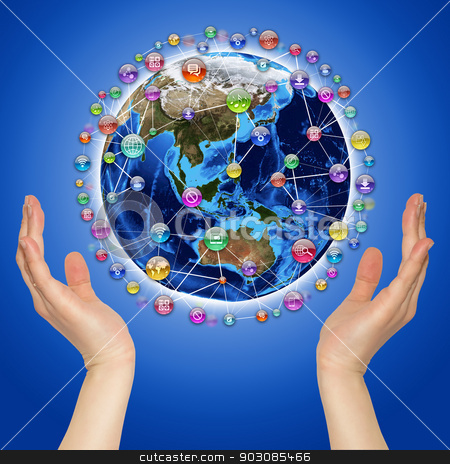 Hands holding earth stock photo, Hands holding earth. Application icons around earth. The concept of software by cherezoff