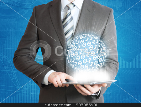 Man holding tablet pc and digital sphere in hand stock photo, Man in suit holding tablet pc and digital sphere in hand. The computer technologies concept by cherezoff
