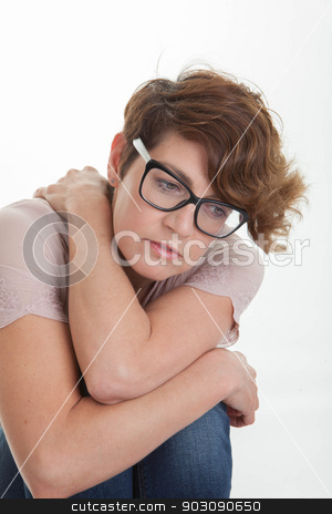 stressed worried lonely depressed woman stock photo, stressed worried lonely depressed woman by mandygodbehear