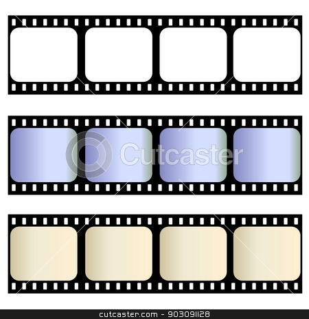 Old film strips stock photo, Three old film strips isolated in white background by Elenarts