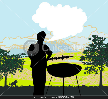 man cooking on his barbecue Invitation  stock vector clipart, man cooking on his barbecue Invitation  by Jacky Brown