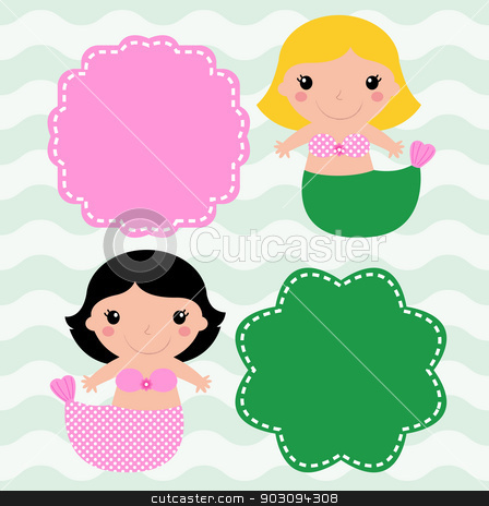 Mermaids with blank signs isolated on wave background stock vector clipart, Cute Mermaids with banners ( pink and green ). Vector   by BEEANDGLOW