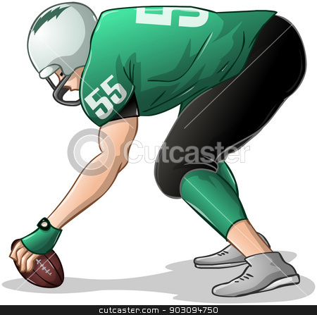 Football Player Kneels and Holds Ball Side View stock vector clipart, Vector illustration of a football player in green uniforms kneels and holds football.  by Liron Peer