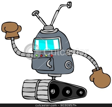 Robot with boxing gloves stock photo, This illustration depicts a robot on tracks wearing boxing gloves. by Dennis Cox