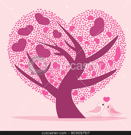 Valentine tree for your design, Pink heart shape leaves. stock vector clipart, Valentine tree for your design, Pink heart shape leaves. by Teerawat Kamnardsiri