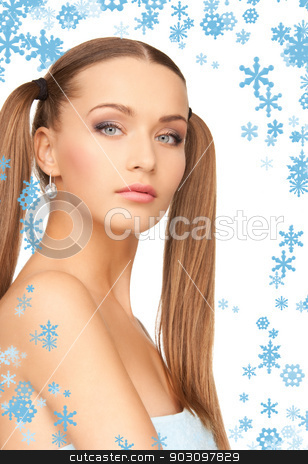 lovely woman in towel stock photo, bright picture of lovely woman in towel over white by Syda Productions