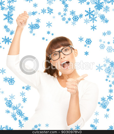 thumbs up stock photo, bright picture of lovely teenage girl with thumbs up by Syda Productions