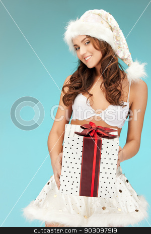 santa helper girl in lingerie with gift box stock photo, picture of cheerful santa helper girl in lingerie with gift box.. by Syda Productions