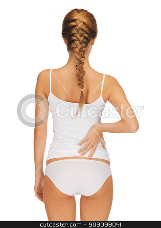 beautiful woman in cotton undrewear stock photo, rear view of beautiful woman in cotton undrewear by Syda Productions