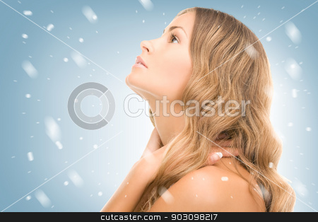 lovely woman stock photo, bright picture of lovely woman over white by Syda Productions